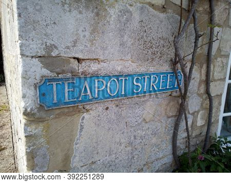 Unusual Street Name Sign For Teapot Street In Wylye Village In The Uk