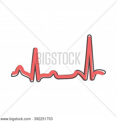Electrocardiogram Vector Icon, Sinus Rhythm Disturbance Cartoon Style On White Isolated Background.