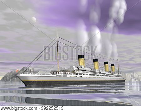 Titanic Ship Cruise By Night - 3d Render