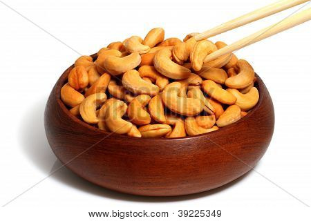 Cashew In Wooden Bowl  And Chopsticks