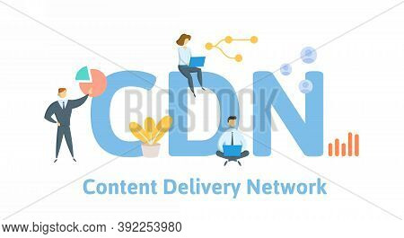 Cdn, Content Delivery Network. Concept With Keywords, People And Icons. Flat Vector Illustration. Is