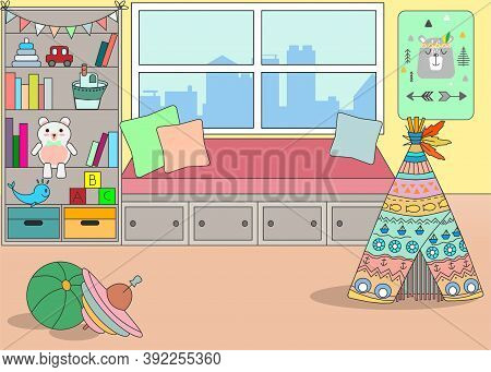 A Childrens Room In Which There Is A Bed With Pillows, A Scandinavian-style Poster, A Window With A