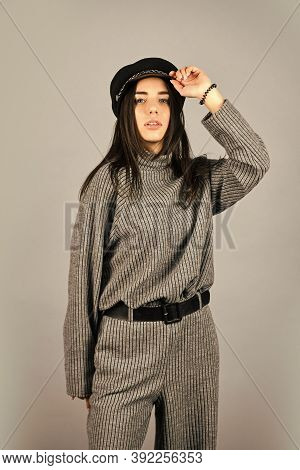 Woman Wear Grey Suit Blouse And Pants. Shop Your Style. Designed For Your Comfort. Warm Comfortable