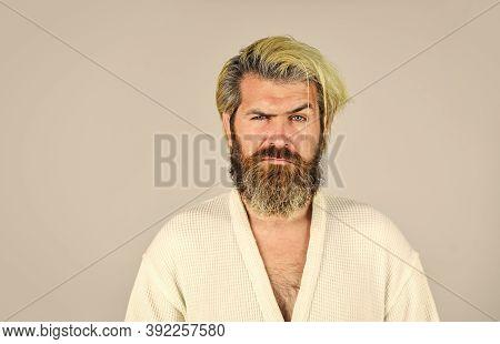 Having Bad Mood. Man Wear Underwear. Man In Bathrobe At The Bathroom. Handsome Guy In The Morning. B