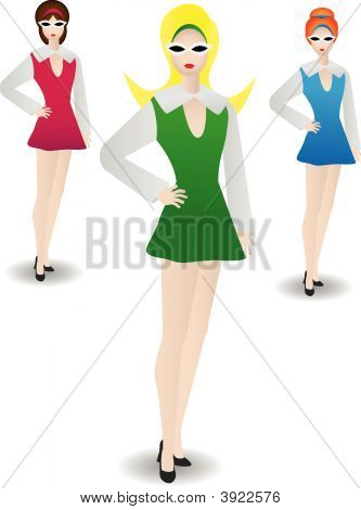 Stylish Retro Woman Standing In Modeling Poses