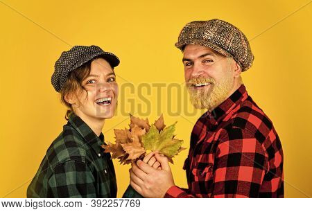 Enjoying Time Together. Harvest With Farmers. Happy Thanksgiving Day. Retro Couple Autumn Leaves. Ma