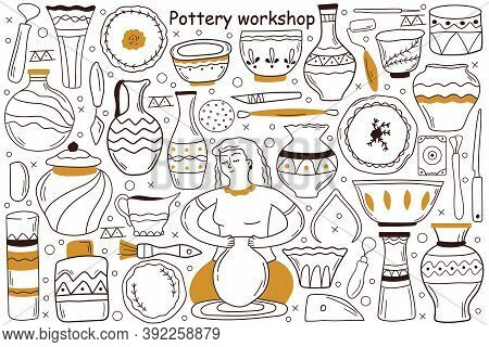 Pottery Workshop Doodle Set. Collection Of Hand Drawn Sketches Templates Patterns Of Woman Craftsman