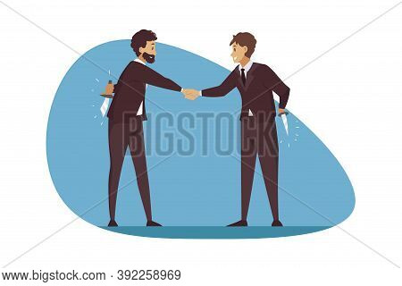Betrayal, Business, Deal, Greeting, Competition Concept. Lie Deception And Corporate Dishonesty Illu