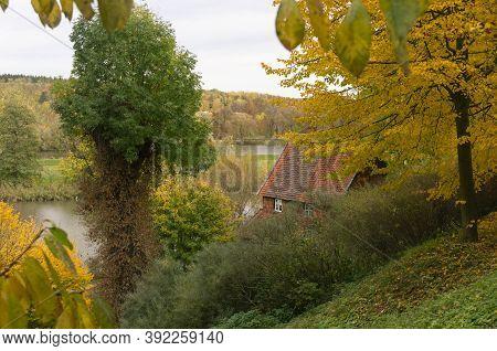 Autumn Landscape, Autumn Sunny Nature.river In Autumn.
