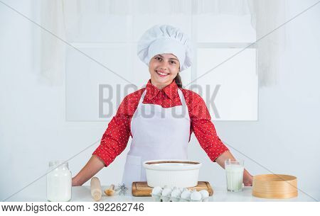 Young Baker Girl In Chef Uniform, Baking