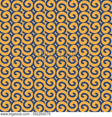 Seamless Islamic Pattern, Blue And Yellow Modern Shape For Design, Porcelain, Chinaware, Ceramic Til