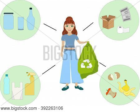 Girl Holding A Trash Bag For Garbage Recycling Various Groups Paper Plastic Glass Organic Set For Se