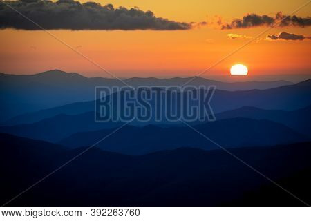 Breathtaking Sunset At Clingmans Dome, The Highest Point In Smoky Mountains National Park