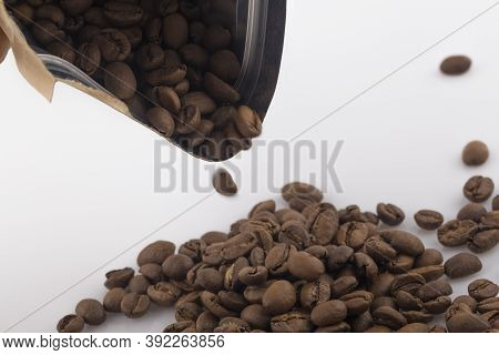 Coffee Craft Paper Bag With Coffee Bean Isolated On White Background.