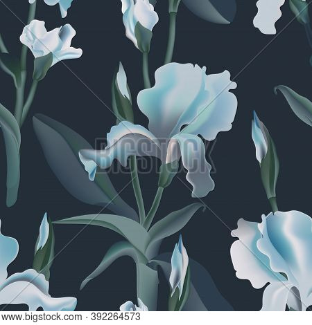 Irises Flower Seamless Pattern Dark Blue Backgroud. Vector Illustration Watercolor Drawn. Interior W