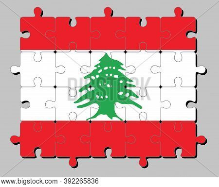Jigsaw Puzzle Of Lebanon Flag In Triband Of Red And White, Charged With A Green Lebanon Cedar. Conce