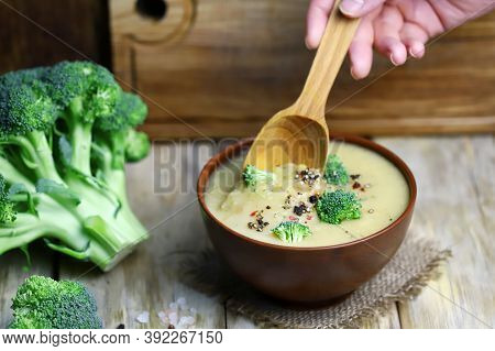 Vegetable Cream Soup With Broccoli In A Bowl. Healthly Food. Delicious Vegan Puree Soup.