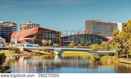 Adelaide, South Australia - February 23, 2020: Adelaide City Skyline Viewed Across Riverbank On A Br