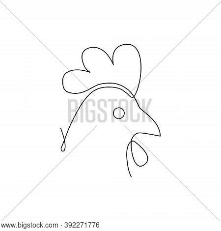 Chicken Head Line Icon. Farm Animal Continuous Line Drawn Vector Illustration. Chicken Head Symbol.
