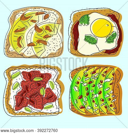 Doodle Set Of Toasts With Avocado, Toast Bread With Pomegranate, Mozzarella Cheese, Egg, Pineapples.