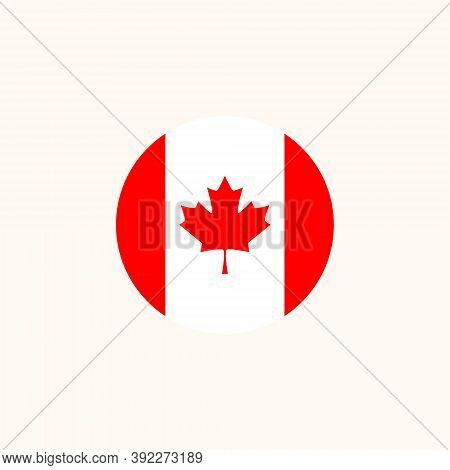 Canadian Round Flag Icon. National Canada Circular Flag Vector Illustration Isolated On White.