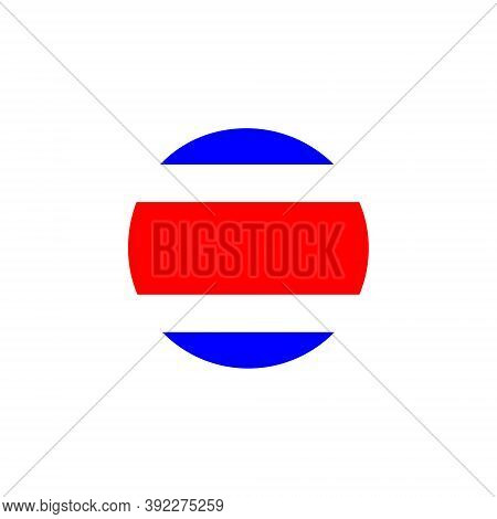 Costa Rica Round Flag Icon. Costa Rica Circular Flag Vector Illustration Isolated On White.