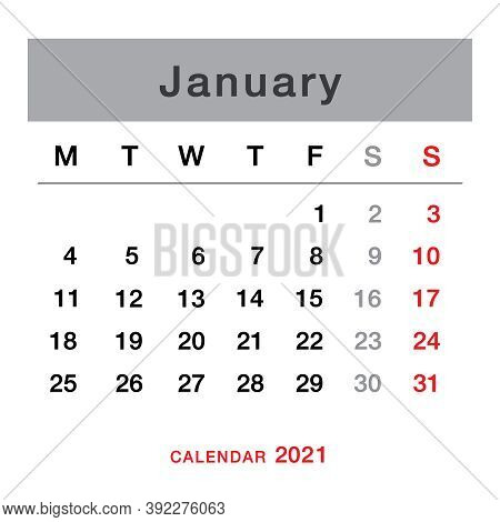 January 2021 Planning Calendar . Simple January  2021 Calendar. Week Starts From Monday. Template Of