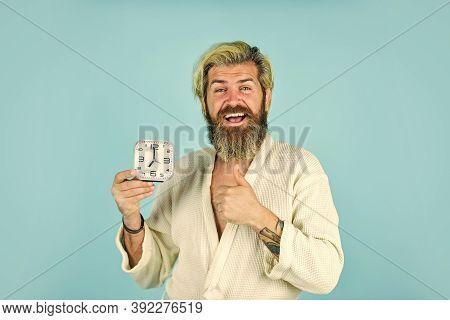Noise Of Alarm Clock. Sleepy Man Hold Alarm Clock. Man Awake With Alarm Clock Ringing. Guy In Bathro