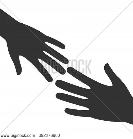 Two Outstretched Hands Icon. Black Arms Outline. Help And Teamwork Concept Vector Illustration. Volu