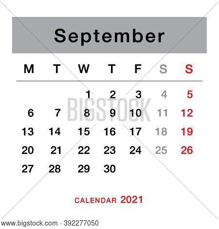 September 2021 Planning Calendar . Simple September 2021 Calendar. Week Starts From Monday. Template