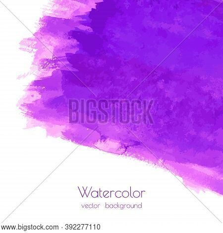 Violet, Purple, Lilac Grunge Vector Watercolor Dry Brush Strokes Texture Hand Paint On White Backgro