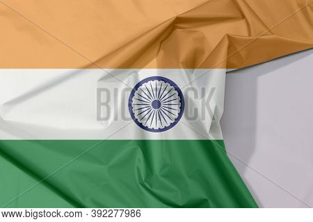 India Fabric Flag Crepe And Crease With White Space, Tricolor Of India Saffron, Orange White And Gre