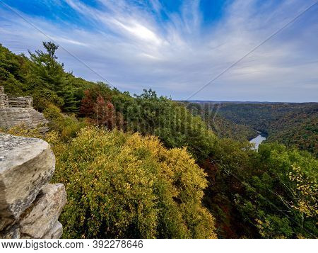 View From The Top Of Cooper's Rock In Coopers Rock State Forest In West Virginia Right Before Sunset