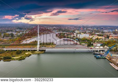 Cable-stayed bridge on the Vistula river in Gdansk. Poland