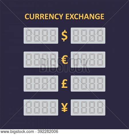 Table Of Currency Exchange. Electronic Led Currency Exchange Display. Cny, Usd, Eur, Gbp Icon.