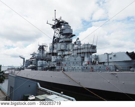 Norfolk, Usa - June 9, 2019: Image Of The Battleship Uss Wisconsin Docked In The Port Of Norfolk Tha