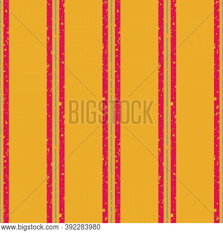 Thin And Thick Stripes With Etched Texture Vector Seamless Pattern Background. Vertical Red And Blue