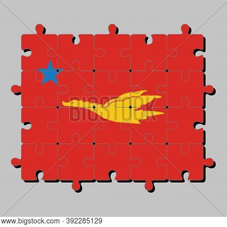 Jigsaw Puzzle Of New Mon State Party Flag, Flag Of The Golden Drake Flying On Red To Star, Concept O