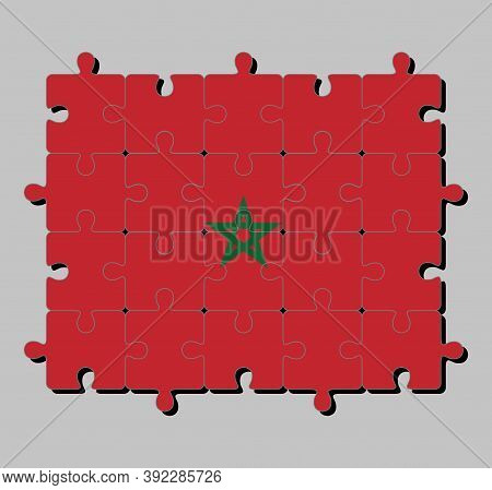 Jigsaw Puzzle Of Morocco Flag In Red Field With A Black-bordered Green Pentagram. Concept Of Fulfill