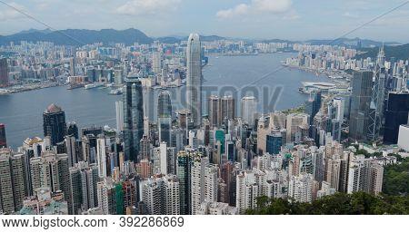 Victoria Peak, Hong Kong 16 July 2020: Hong Kong landmark