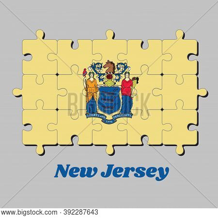 Jigsaw Puzzle Of New Jersey Flag, The State Coat Of Arms On Buff Color. The States Of America, Conce