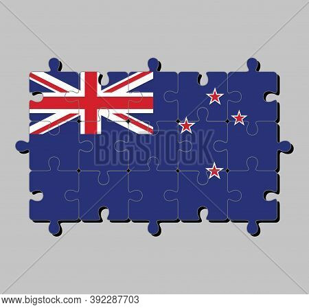 Jigsaw Puzzle Of New Zealand Flag In A Blue Ensign With The Southern Cross Of Four Stars. Concept Of