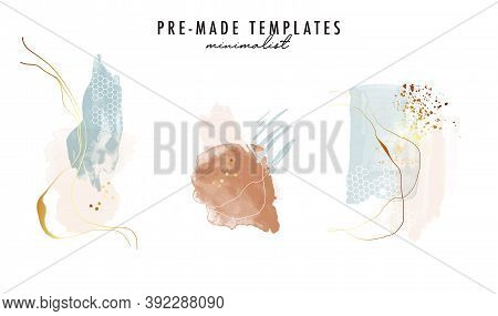 Abstract Watercolor Shapes Gold Geometric Artwork. Tender Neutral Frames, Buiness Pack.