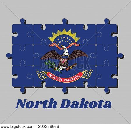 Jigsaw Puzzle Of North Dakota Flag. Flag Of The Unit By State Troops In The Philippine-american War.