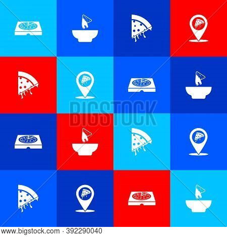 Set Pizza In Cardboard Box, Nachos Plate, Slice Of Pizza And Location With Slice Icon. Vector