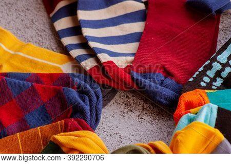Socks. Socks Colorful. Set Of Socks. Colorful Socks. Knitted Socks