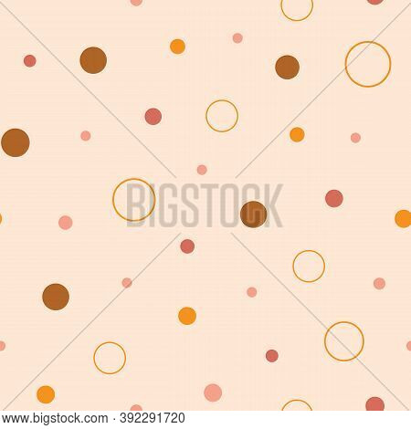 Earth Tones Dots And Circles Seamless Repeat Pattern. Hand-drawn Dots And Circles In Different Sizes