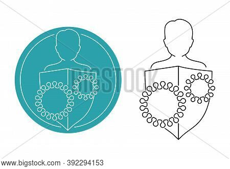 Immunity (immune System) Icon In Thin Line - Human Silhouette Protected By Shield From Microbes Viru