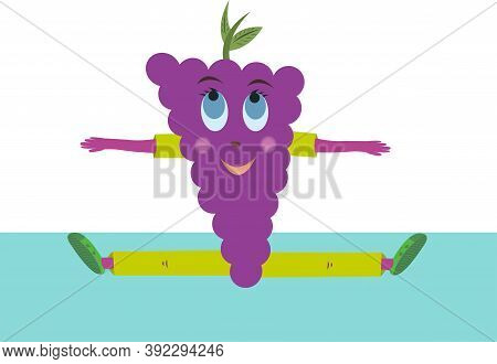 Violet Grape Vector Sits On A Twine. Grapes Dressed In A Green Sports Suit On A White Background.