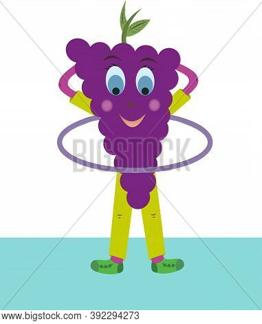 Perky Grape Vector Twists Hoop. Grapes Are Very Fond Of Sports. Fruit Grapes Depicted On A White Bac